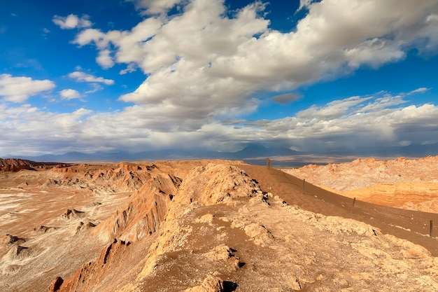 Amazing view on valle de la luna and dramatic clouds in atacama desert in chile, south america