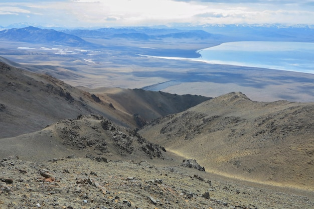Amazing winter landscape in mongolia colorful scene in the mountains tsagaan shuvuut national park