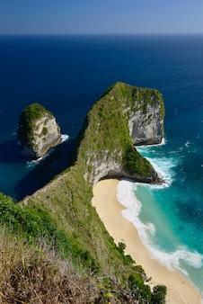 Amazing wonderful seashore aerial view of beach located in nusa penida, southeast of bali island, indonesia.