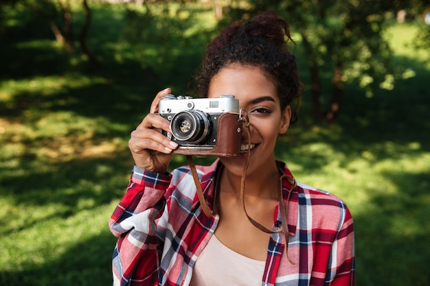 Amazing young african woman photographer