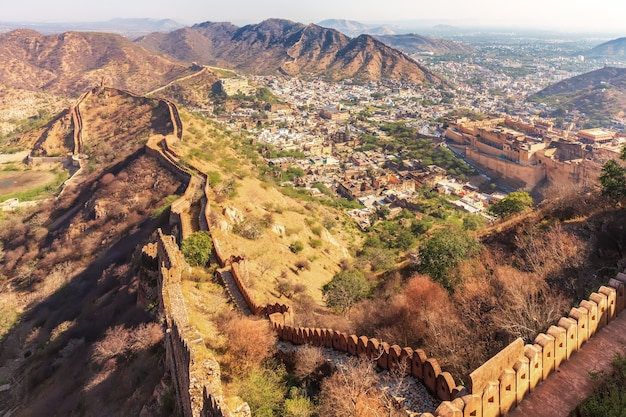 Amber fort and amer in the aravalli hills, view from the walls of jaigarh fort, jaipur, egypt.