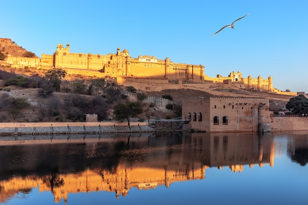 Amber fort full view from the lake, jaipur, india.