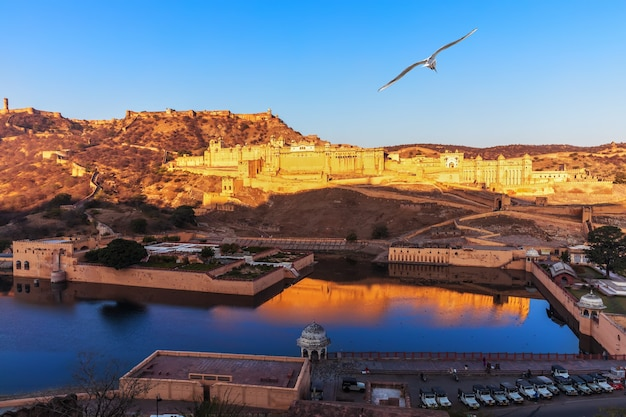 Amber fort full view, jaipur in rajasthan, india.