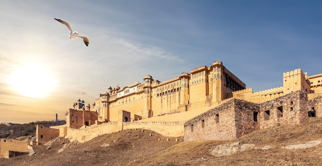 Amber fort panorama in india, jaipur, sunset view.