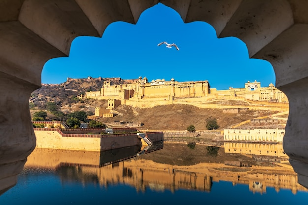 Amber fort, view from the arch in jaipur, india.