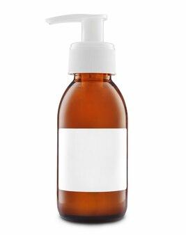 빈 흰색 레이블 화장품에 대 한 호박색 유리 병. 목업.