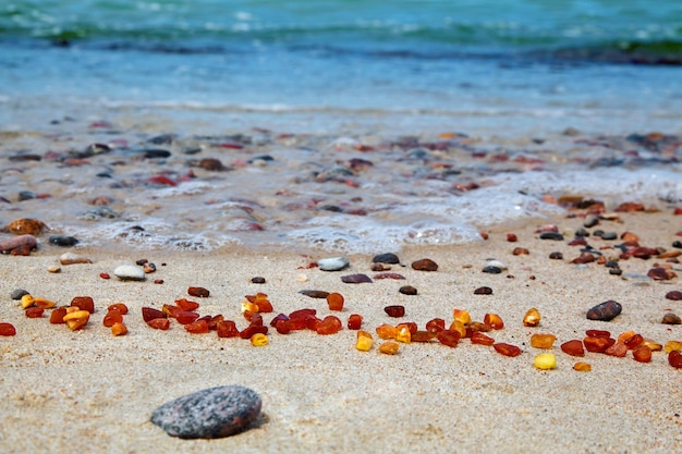 Янтарь на берегу моря. необработанный янтарь у моря. солнечный камень Premium Фотографии