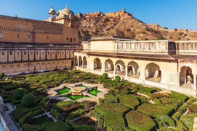 Amber sheesh mahal garden in amber fort, jaipur, india.