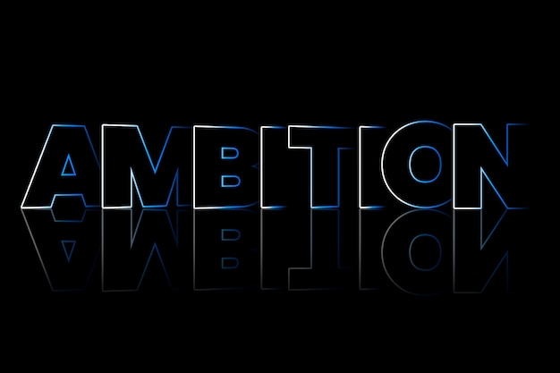 Ambition shadow style typography on black background