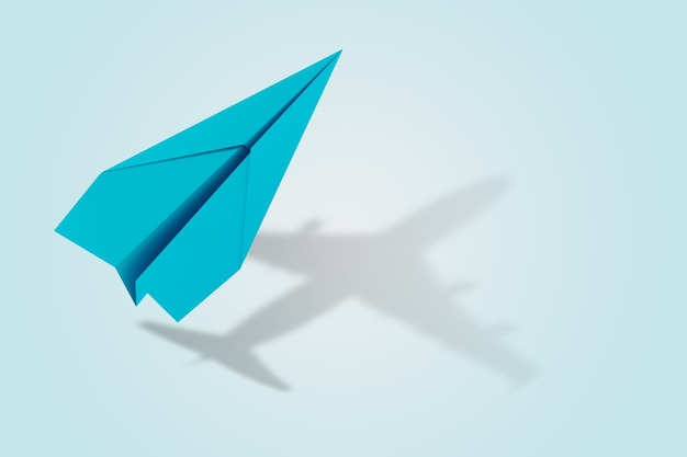 Ambition and target concept with paper plane that become an aircraft. 3d rendering