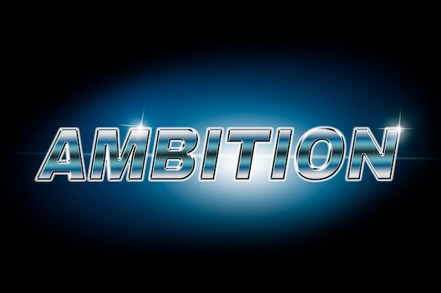 Ambition typography in lens flare font