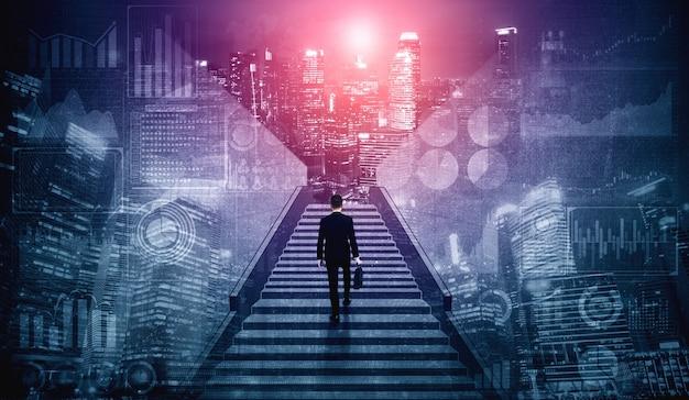 Амбициозный деловой человек, поднимающийся по лестнице к успеху.