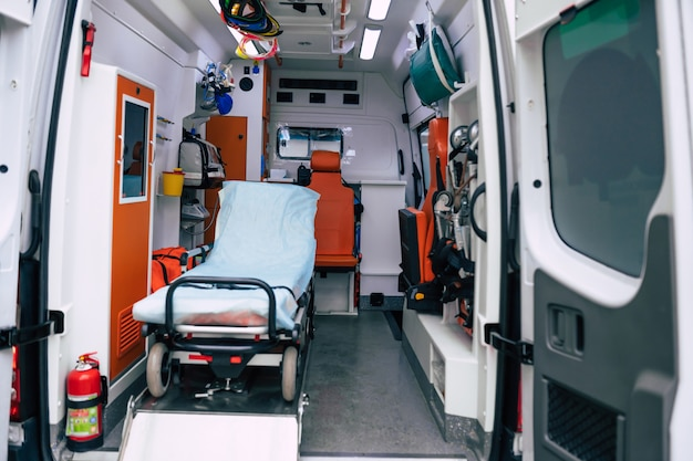 Ambulance car with a view the interior of the equipment