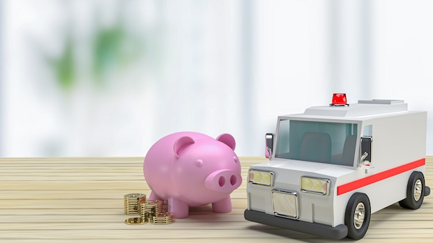 The  ambulance  and piggy bank on wood table for health care or medical concept 3d rendering