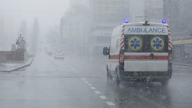 An ambulance took the patient to the clinic with the turn signals on