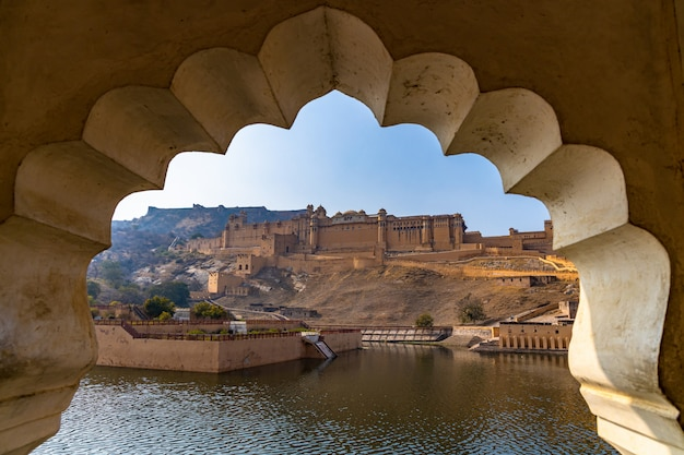 Amer fort, jaipur, rajasthan, india, amber palace complex. amber fort is the principal tourist attraction in the jaipur.