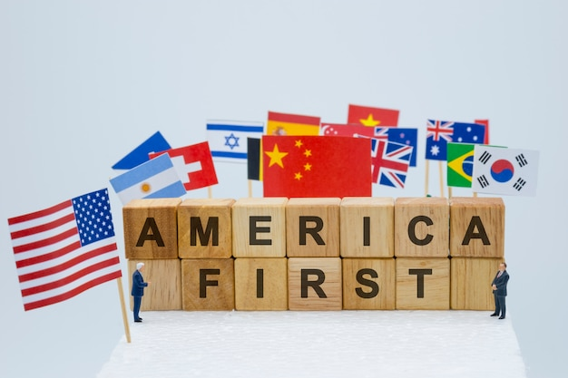 America first wording with usa china and multi countries flags.