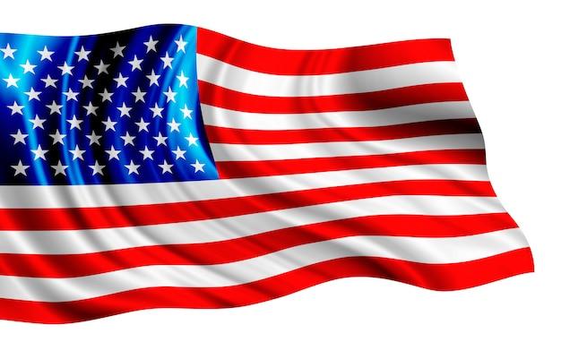 白い背景に分離されたアメリカの国旗