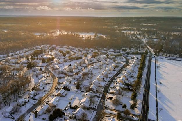 미국 평화로운 풍경 눈 놀라운 겨울 일몰 풍경