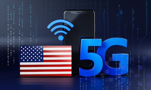 America ready for 5g connection concept. 3d 렌더링 스마트 폰 기술 배경