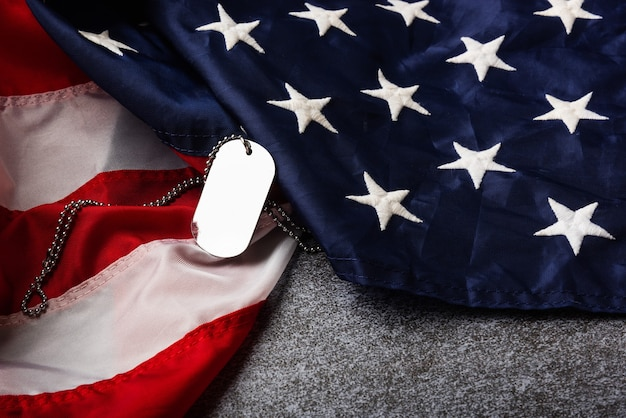America united states flag and chain dog tags military symbolizing