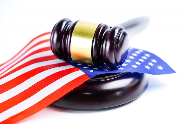 America usa flag and judge hammer. law and justice court concept.