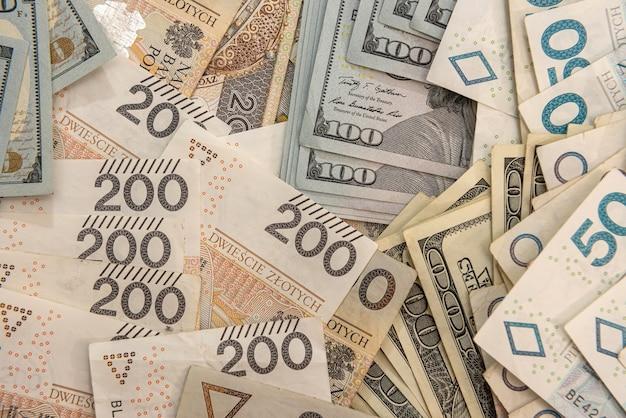 비즈니스 및 금융 배경으로 미국 및 폴란드 통화