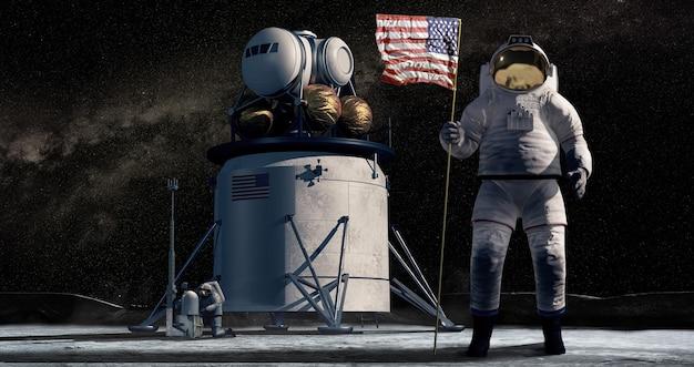 American astronauts explore the moon.