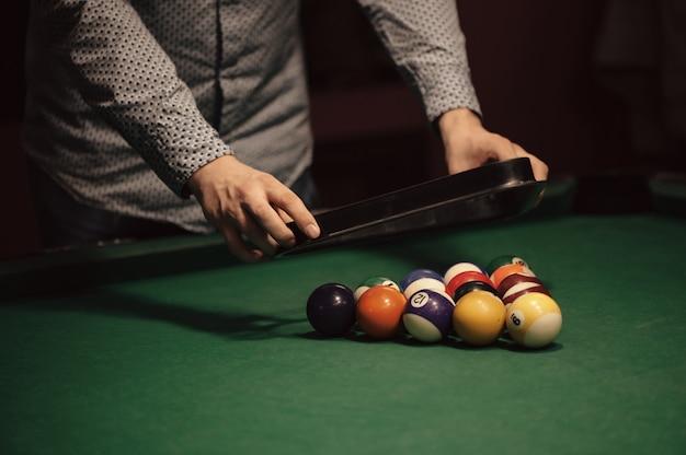 American billiard poule. triangle of billiard balls.
