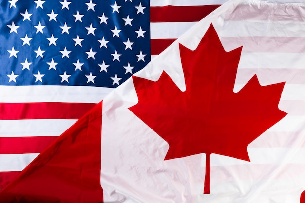 American and canadian flags together