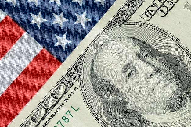 American dollar on the american flag