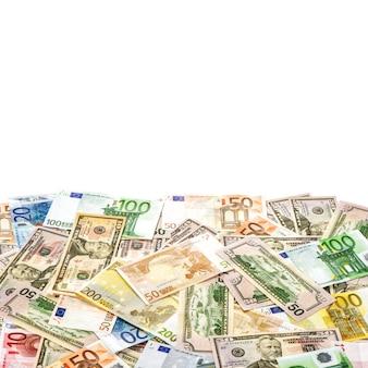 Американские доллары и банкноты евро. денежный фон. концепция бизнеса и финансов