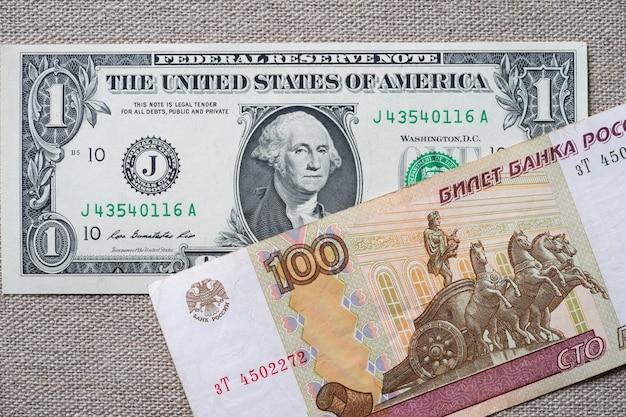 Американские доллары и российские рубли. бизнес-концепция курс доллара к рублю.