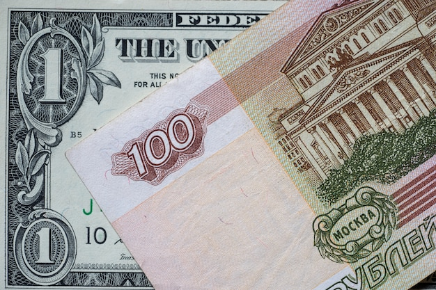 American dollars and russian rubles. business concept. dollar-ruble exchange rate.