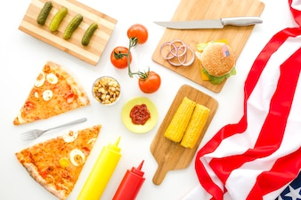 American fast food concept with pizza