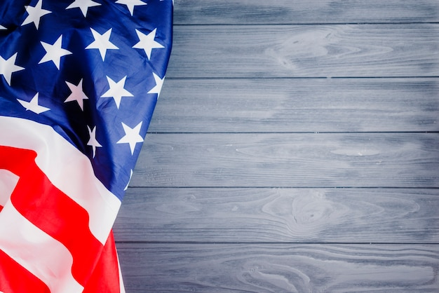 American flag background with copyspace on right