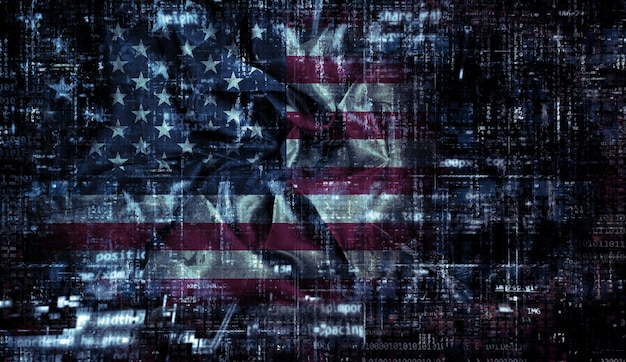 Фон американского флага с складками и сгибами и кодирующий дизайн