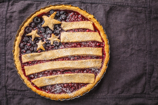 American flag berry pie, top view. independence day of america concept.