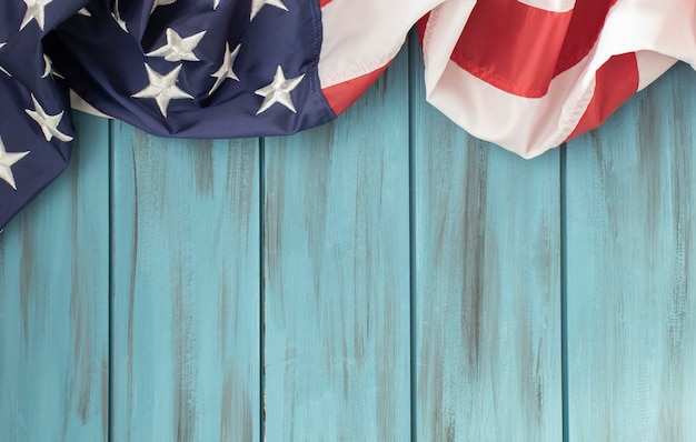 American flag or bunting on a wooden table