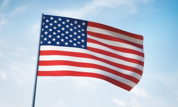 Американский флаг крупным планом. небо на заднем плане.