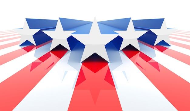 미국 국기 개념입니다. 3d 렌더링