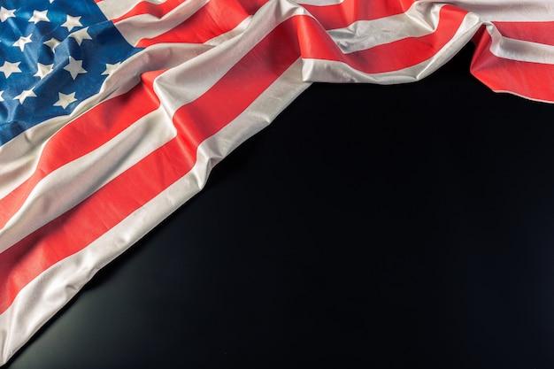 American flag on dark