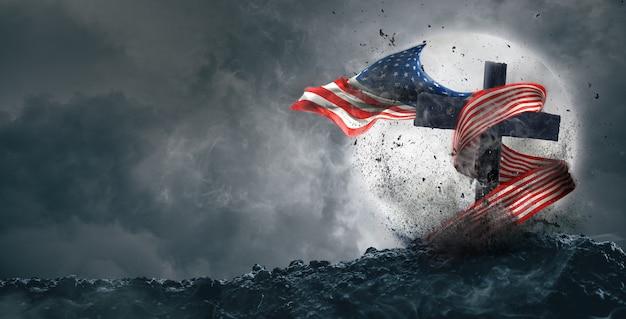 Американский флаг развевается на могиле, концепция дня ветеранов или дня памяти