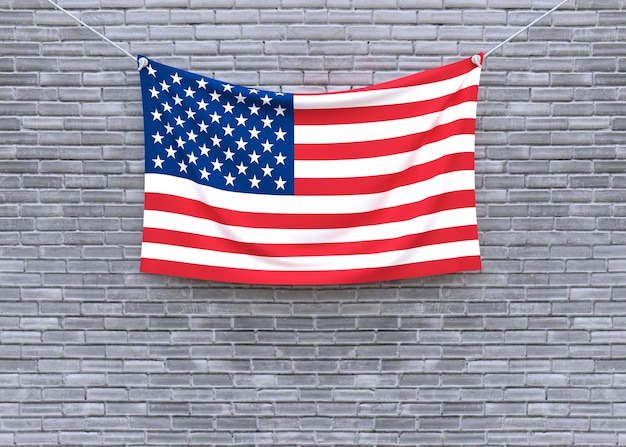 American flag hanging on brick wall