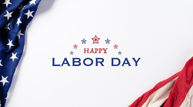 American flag, happy labor day banner