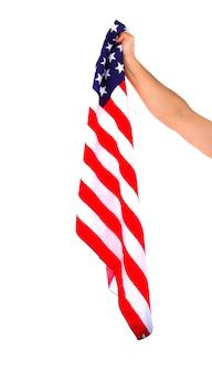 Bandiera americana ha tenuto con una sola mano