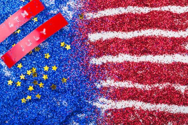 American flag made of glitter