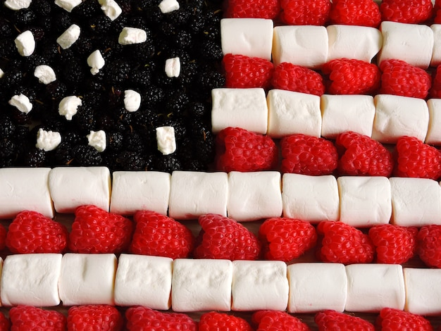 American flag made of marshmallow and berries.