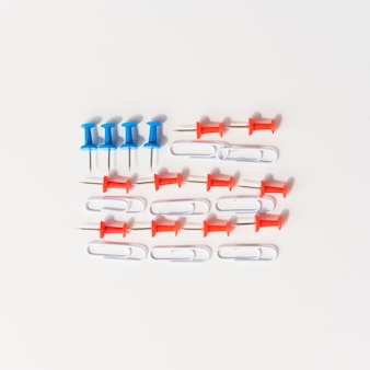 American flag made of pins and clips