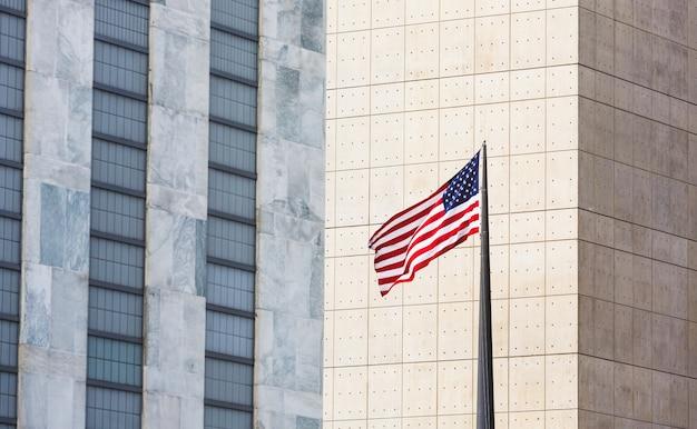 American flag in new york city